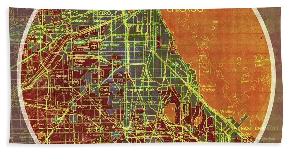 Frank Lloyd Wright Chicago Map.Chicago 1957 Old Map Chicago Frank Lloyd Wright Quote Beach Towel