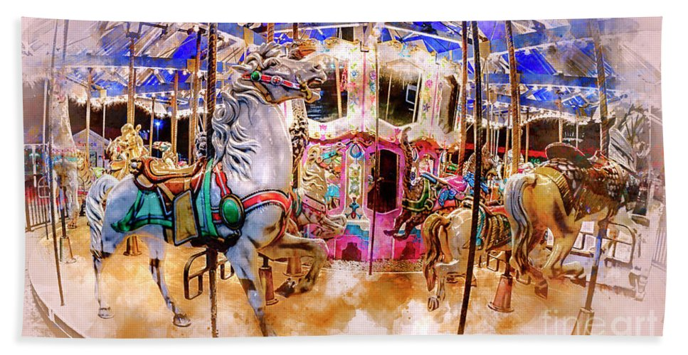 071a346af31c Carousel Beach Towel featuring the digital art Christmas Carousel  Watercolor by David Smith