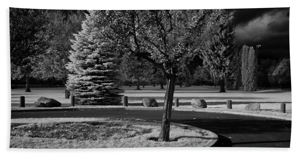 Infrared Beach Towel featuring the photograph City Beach In Infrared by Lee Santa