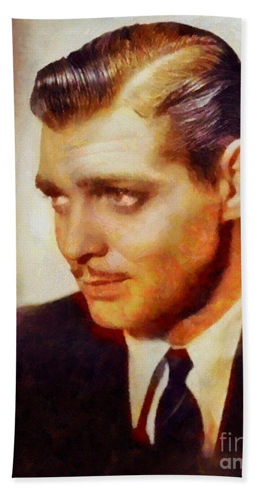 Hollywood Beach Towel featuring the painting Clark Gable, Vintage Hollywood Actor by Sarah Kirk