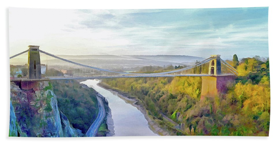 Clifton Suspension Bridge Beach Towel featuring the digital art Clifton Suspension Bridge 1 by Bishopston Fine Art