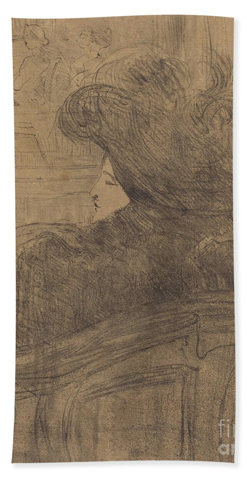 Beach Towel featuring the drawing Cl?o De M?rode by Henri De Toulouse-lautrec