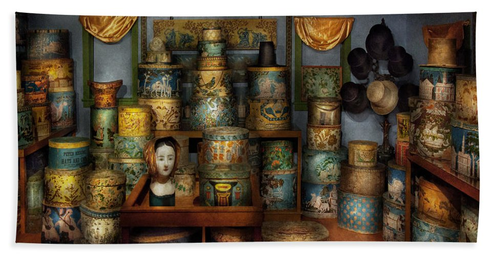 Hdr Beach Towel featuring the photograph Collector - Hats - The Hat Room by Mike Savad