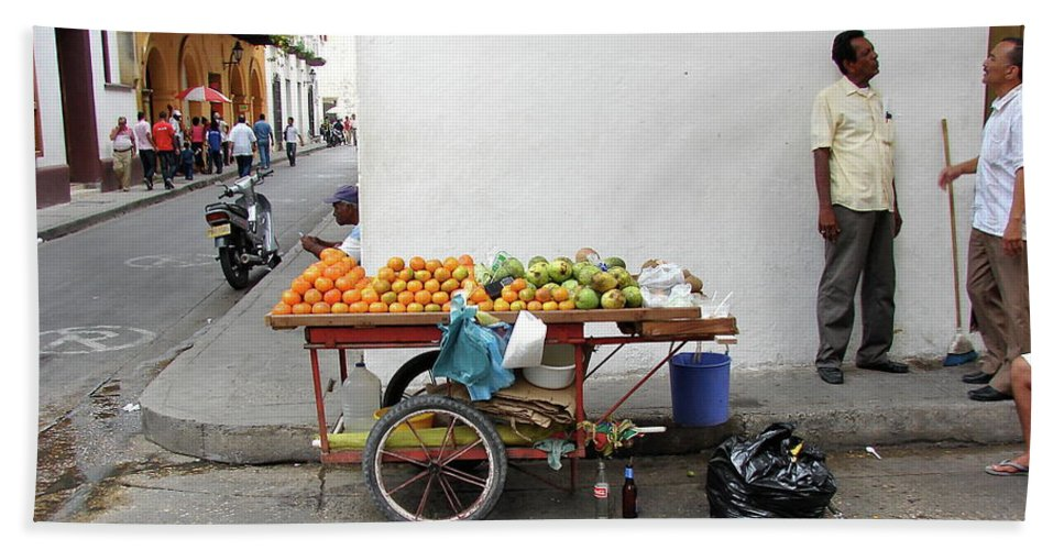 Colombia Beach Towel featuring the photograph Colombia Fruit Cart by Brett Winn