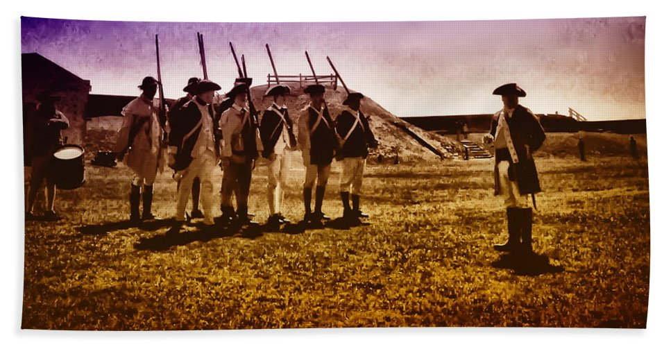 Philadelphia Beach Towel featuring the photograph Colonial Soldiers At Fort Mifflin by Bill Cannon