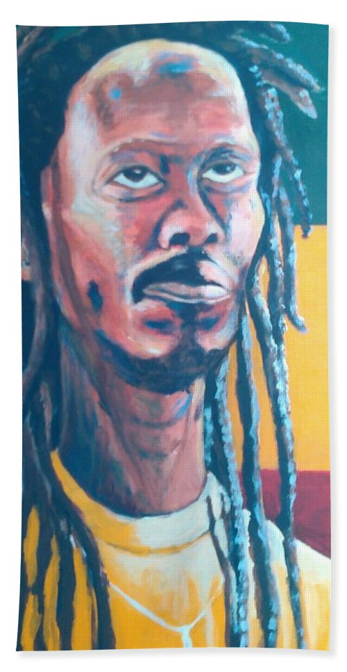 Rasta Portrait Beach Towel featuring the painting ColorPS by Andrew Johnson