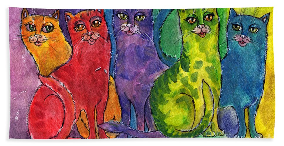 Cat Beach Towel featuring the painting Colourful Cats by Angel Ciesniarska