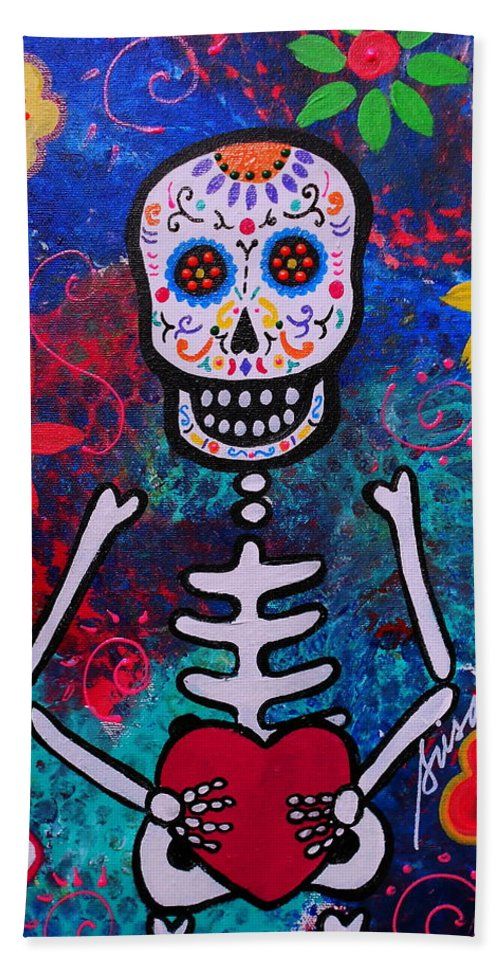 Heart Beach Towel featuring the painting Corazon Day Of The Dead by Pristine Cartera Turkus