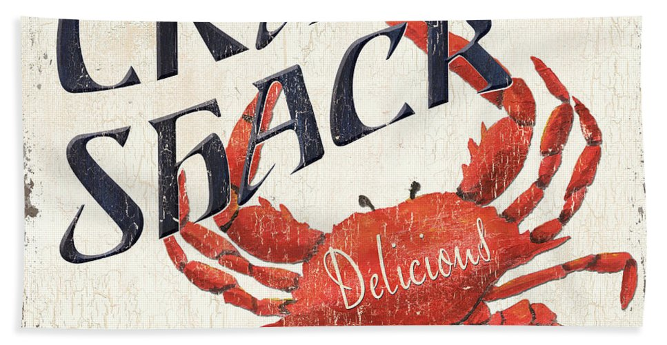Crab Beach Towel featuring the painting Crab Shack 2 by Debbie DeWitt