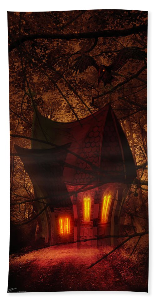 Abandoned Beach Towel featuring the digital art Crooked House by Svetlana Sewell