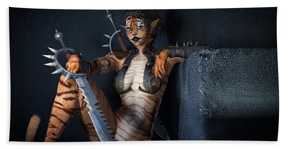 3d Beach Towel featuring the digital art Curiosity Can Be Deadly by Alexander Butler