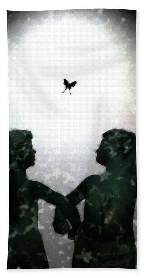 Dance Beach Towel featuring the digital art Dancing Silhouettes by Holly Ethan