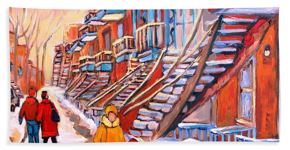 Debullion Street Winter Walk Beach Towel featuring the painting Debullion Street Winter Walk by Carole Spandau