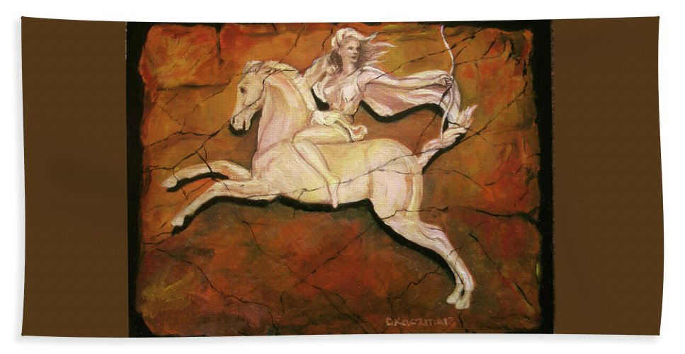 Horse Beach Towel featuring the painting Diana The Huntress by Olga Kaczmar