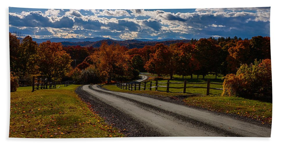 #jefffolger Beach Towel featuring the photograph Dirt Road Through Vermont Fall Foliage by Jeff Folger