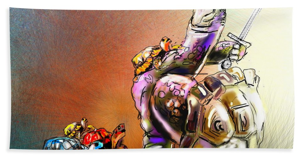 Turtle Painting Beach Sheet featuring the digital art Don by Miki De Goodaboom