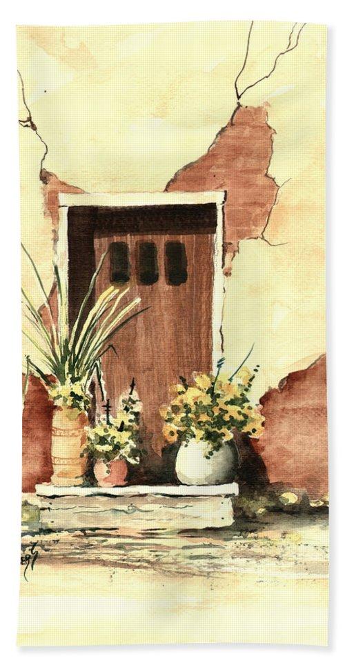 Door Beach Towel featuring the painting Door with Pots by Sam Sidders