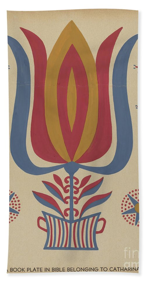 """Beach Towel featuring the drawing Drawing For Plate 9: From The Portfolio """"folk Art Of Rural Pennsylvania"""" by American 20th Century"""
