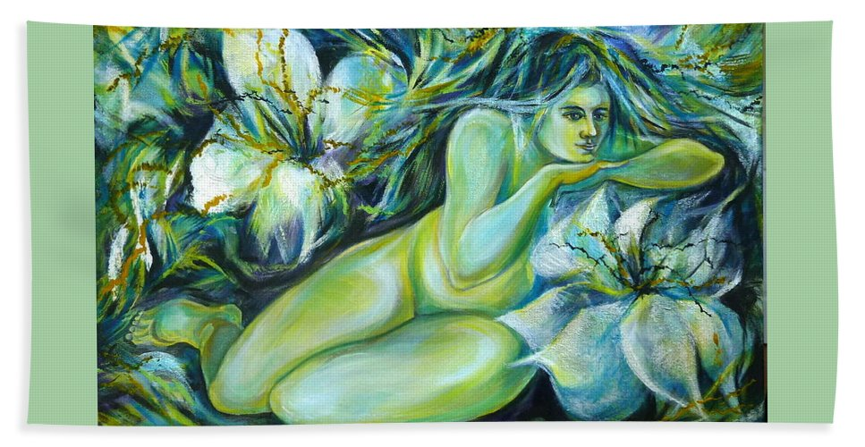 Fantasy Art Beach Towel featuring the painting Dreaming Flower by Anna Duyunova