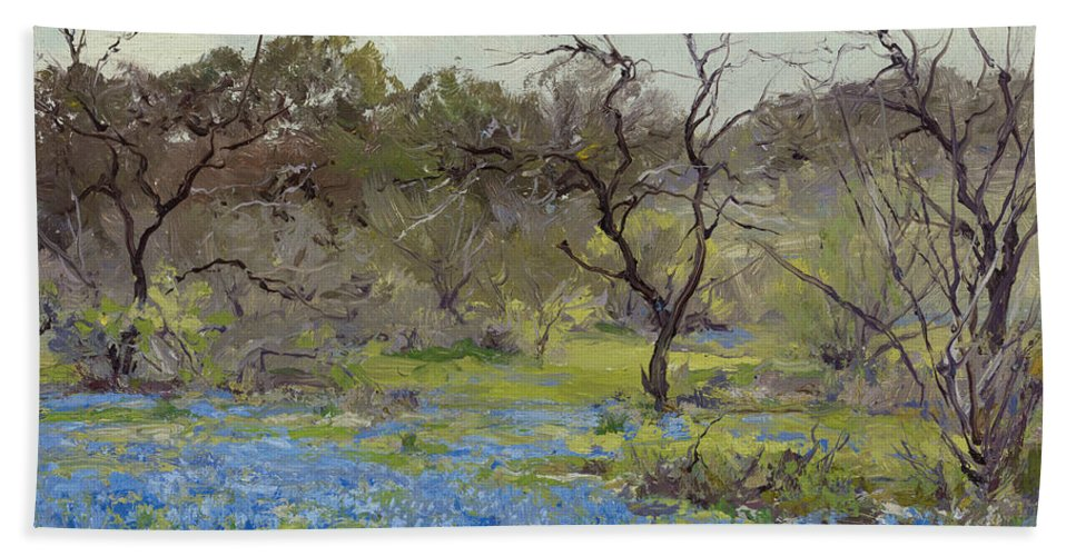 19th Century Art Beach Towel featuring the painting Early Spring - Bluebonnets And Mesquite by Julian Onderdonk