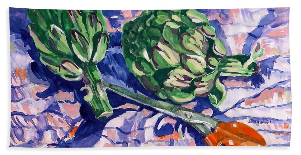 Greens Beach Towel featuring the painting Edible Flowers by Jan Bennicoff