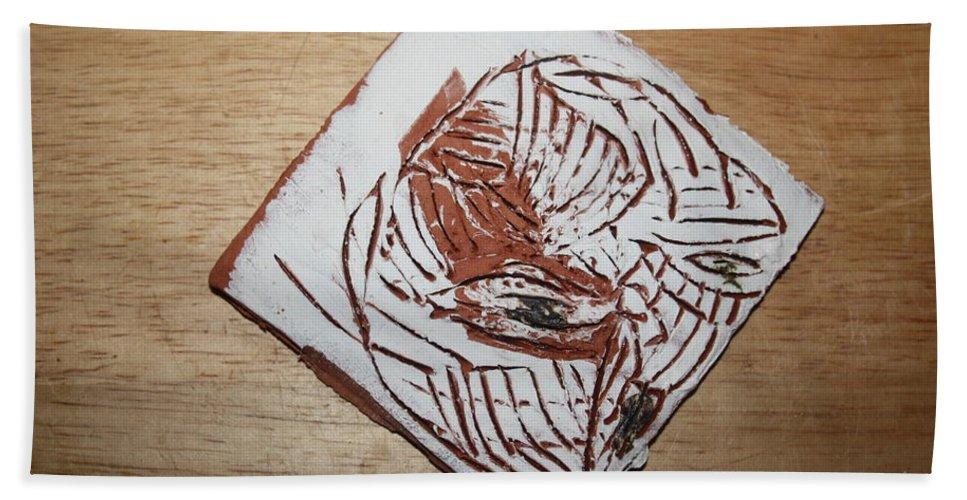 Jesus Beach Towel featuring the ceramic art Edith - Tile by Gloria Ssali