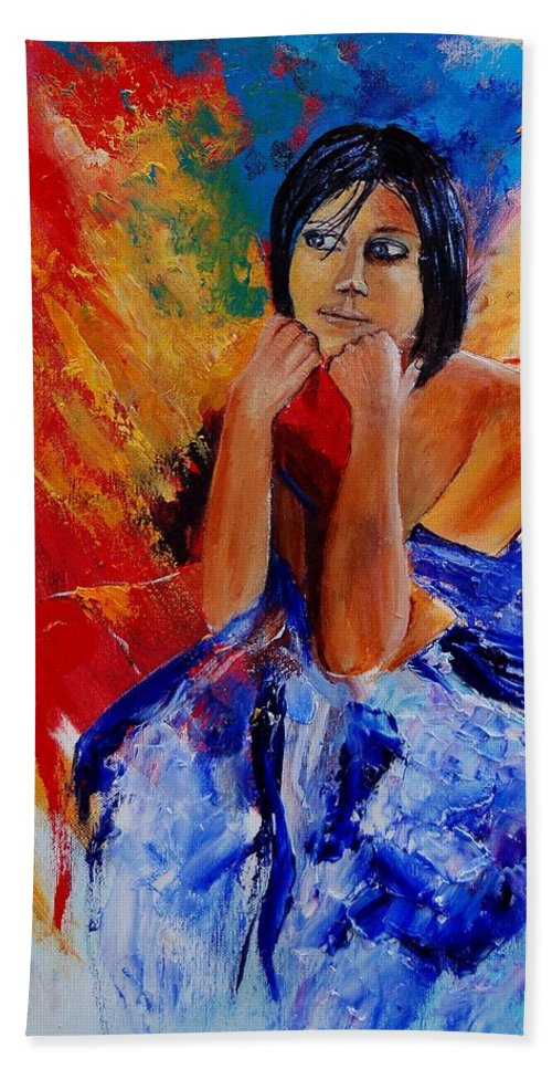 Girl Beach Towel featuring the painting Eglantine 45901111 by Pol Ledent