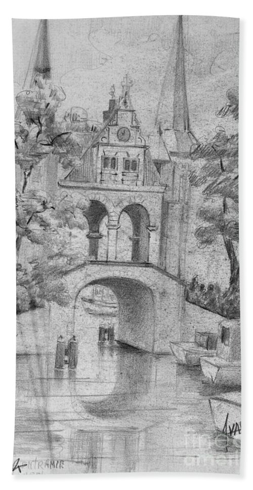 Wood Beach Towel featuring the drawing Entrance Into Sneek by Dorothy Hilde
