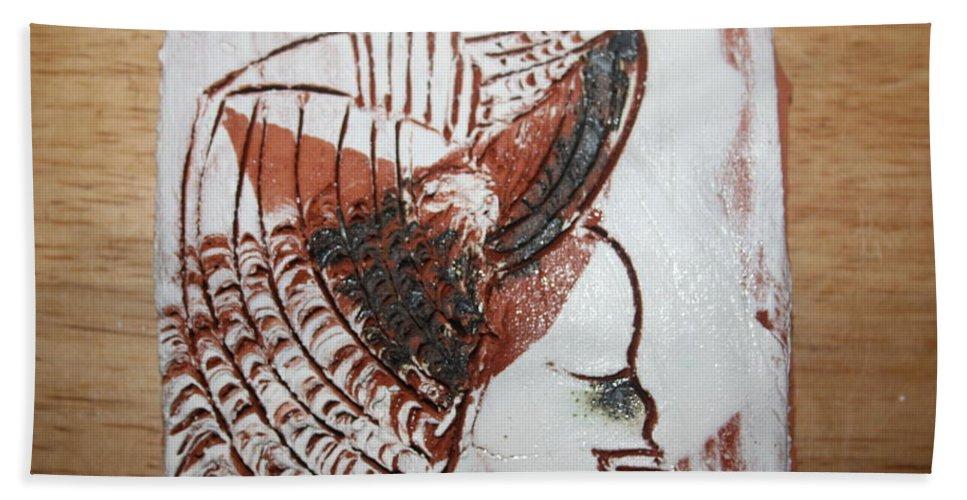Jesus Beach Towel featuring the ceramic art Eugenie - Tile by Gloria Ssali
