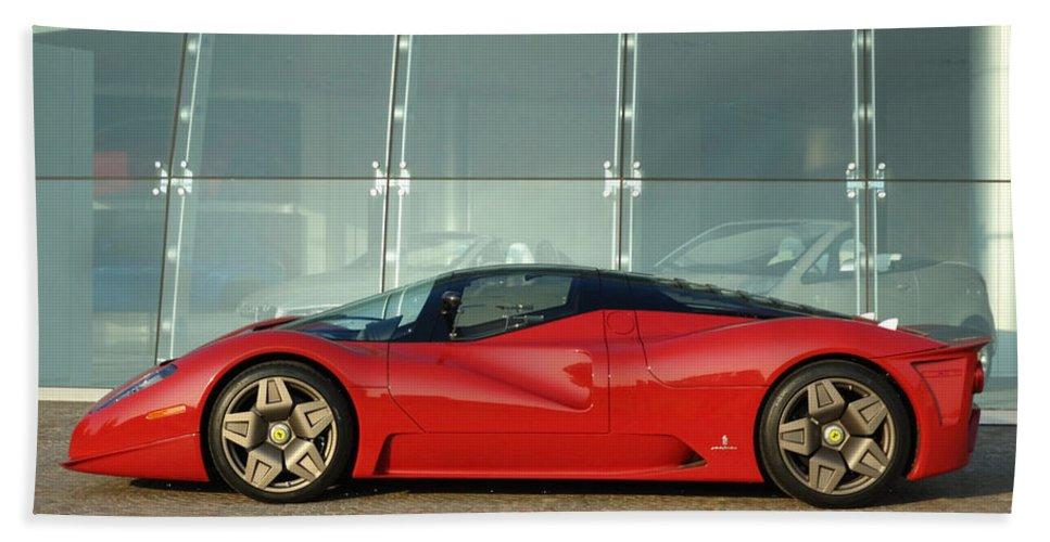 Ferrari Beach Towel featuring the digital art Ferrari by Zia Low