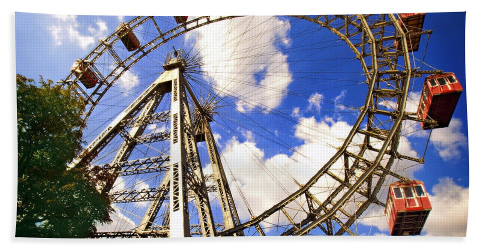 Ferris Wheel Beach Towel featuring the photograph Ferris Wheel At The Prater by Madeline Ellis