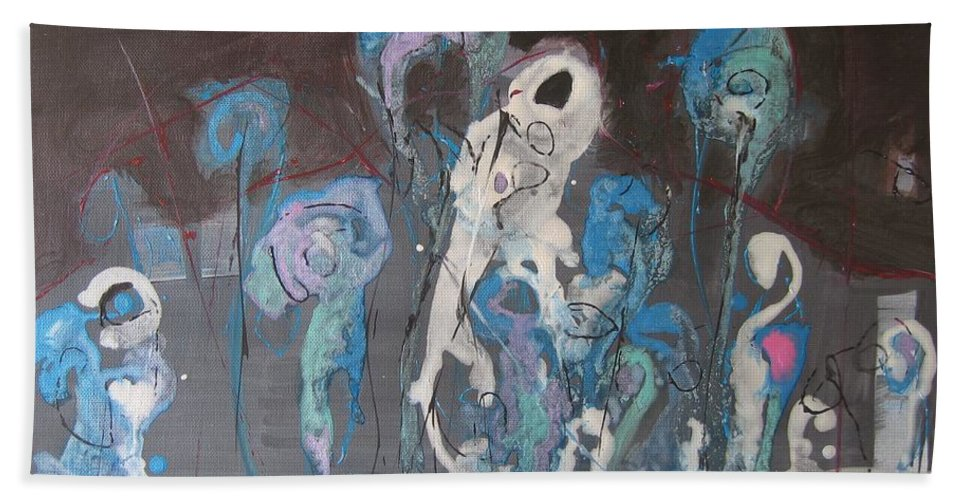 Fiddleheads Paintings Beach Towel featuring the painting Fiddleheads 3 by Seon-Jeong Kim