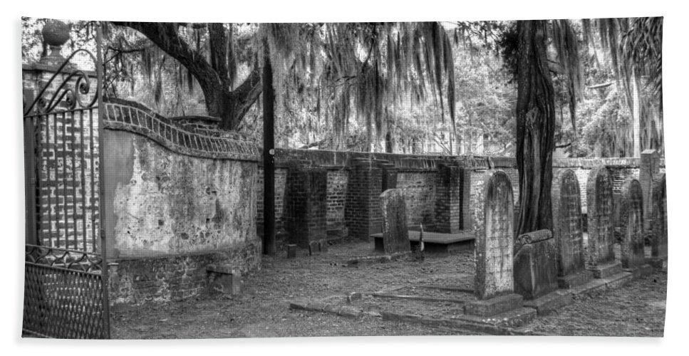 Cemetery Beach Towel featuring the photograph Final Resting Place by Linda Covino