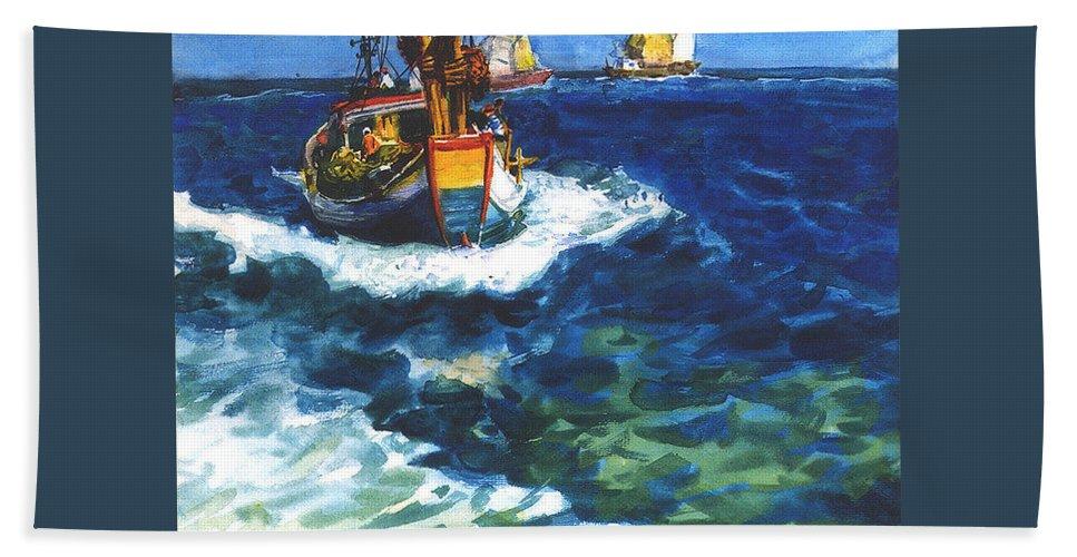 Fishing Beach Towel featuring the painting Fishing boat by Guanyu Shi