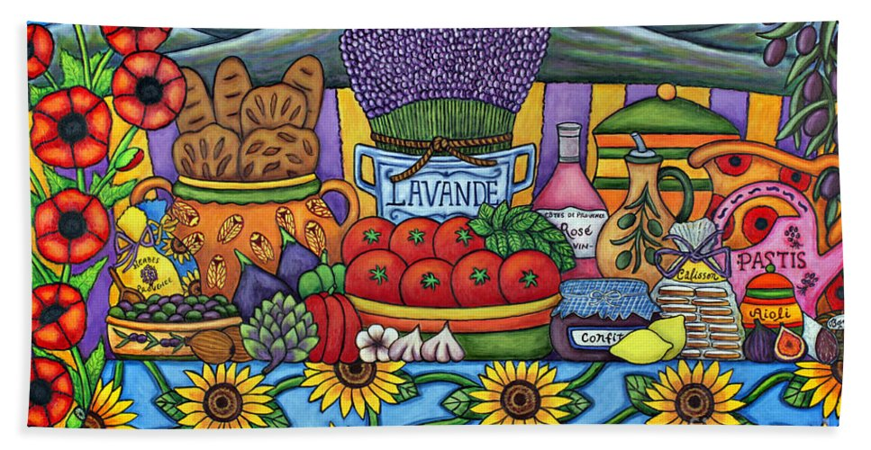 Provence Beach Towel featuring the painting Flavours of Provence by Lisa Lorenz
