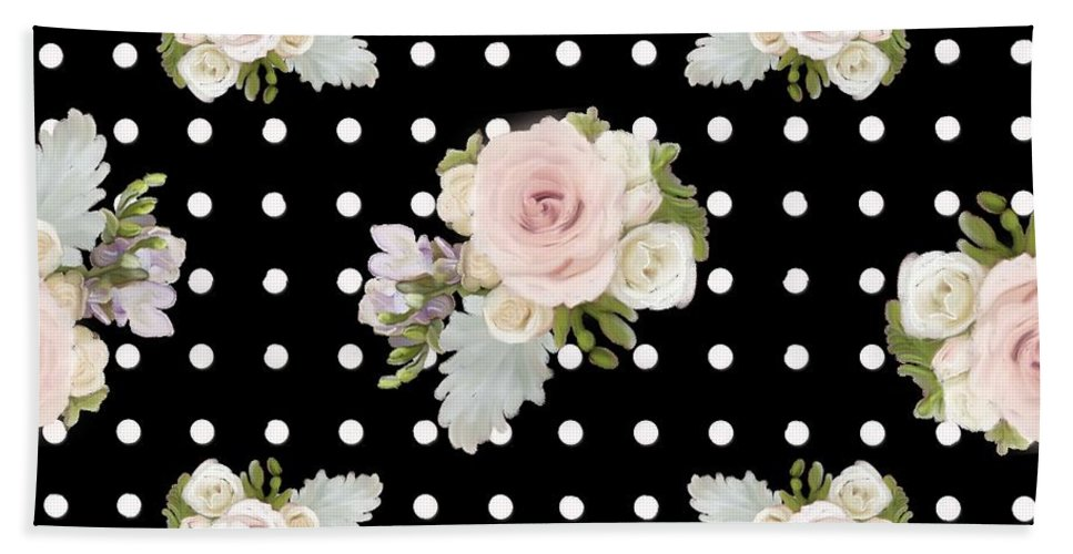 Home Decor Beach Towel featuring the painting Floral Rose Cluster W Dot Bedding Home Decor Art by Audrey Jeanne Roberts