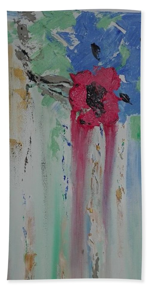 Abstract Beach Towel featuring the painting Flori by Clara Tanasie