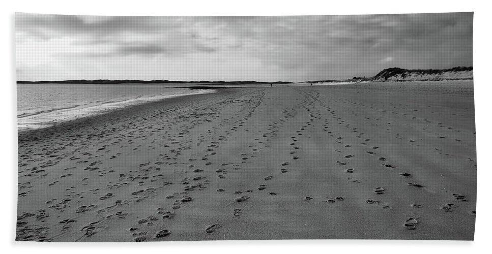 North Sea Beach Towel featuring the photograph Footprints In The Sand by Jonny Joka