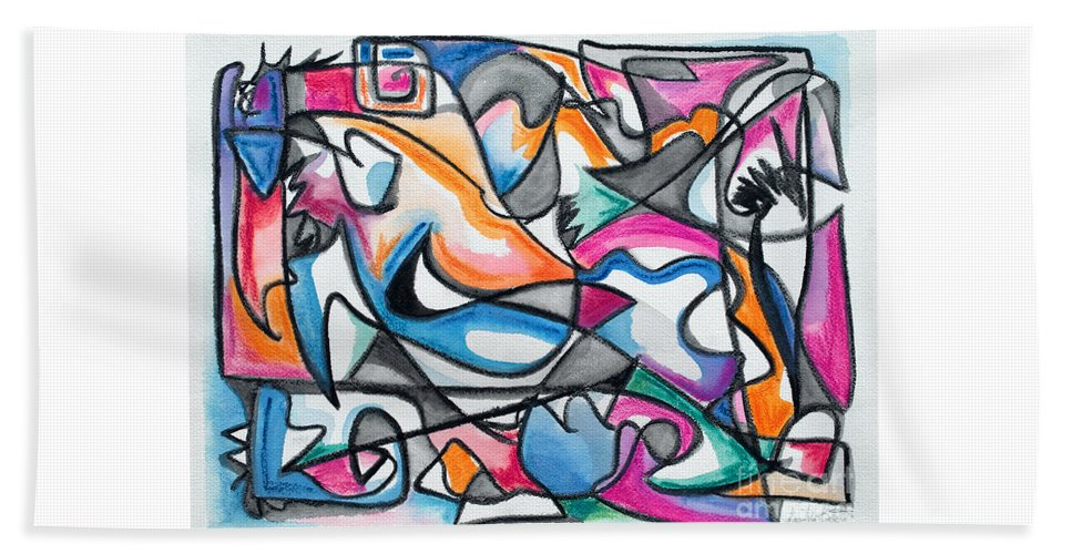 Stylized Continuous Flowing Black Line Semi Filled With Blue Orange Pink And Green.outlined With White .white Accents Highlighting Internal Color Blocks.deco In Feeling. Beach Towel featuring the painting Four by Expressionistart studio Priscilla Batzell