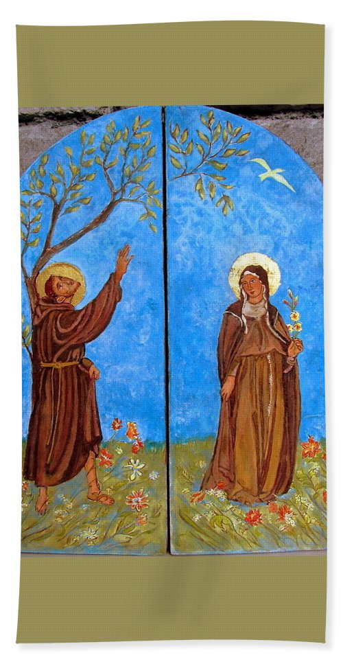 Saint Francis Beach Towel featuring the painting Francis And Claire Triptych by Sarah Hornsby
