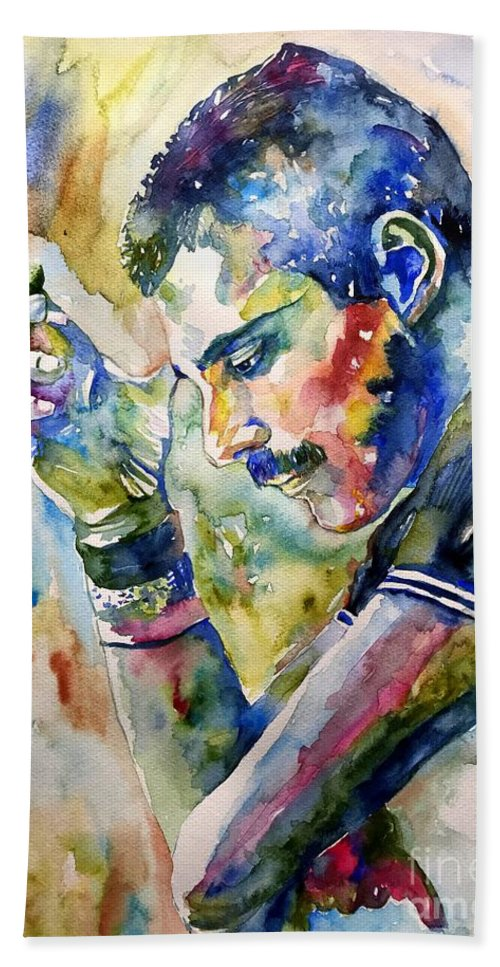 Freddie Beach Towel featuring the painting Freddie Mercury watercolor by Suzann Sines