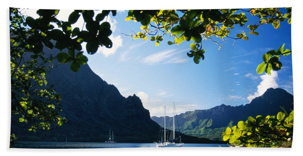 Across Beach Towel featuring the photograph French Polynesia, Moorea by Dana Edmunds - Printscapes