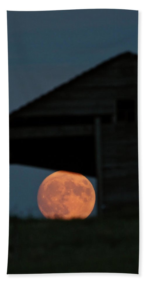 Full Moon Beach Towel featuring the digital art Full Moon Seen Through Old Building Window by Mark Duffy