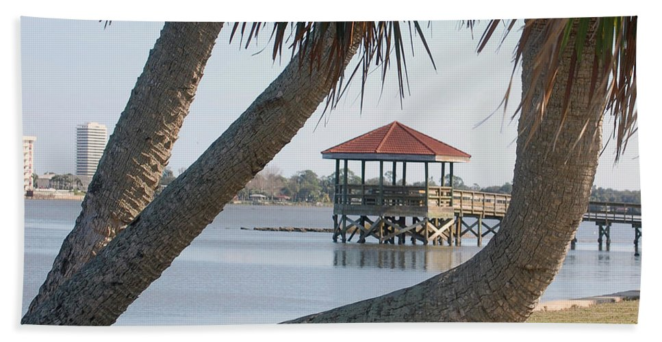 Dock Beach Towel featuring the digital art Gazebo Dock Framed By Leaning Palms by DigiArt Diaries by Vicky B Fuller