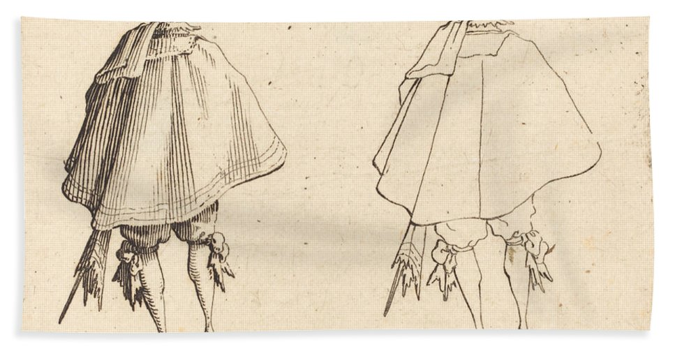 Beach Towel featuring the drawing Gentleman In Large Mantle, Seen From Behind by Jacques Callot