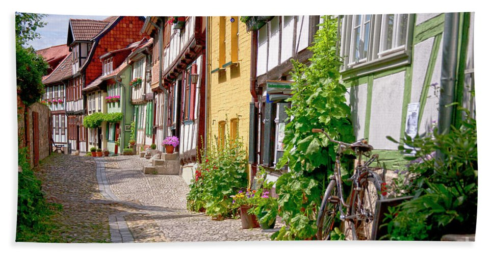 Quedlinburg Beach Towel featuring the photograph German Old Village Quedlinburg by Heiko Koehrer-Wagner