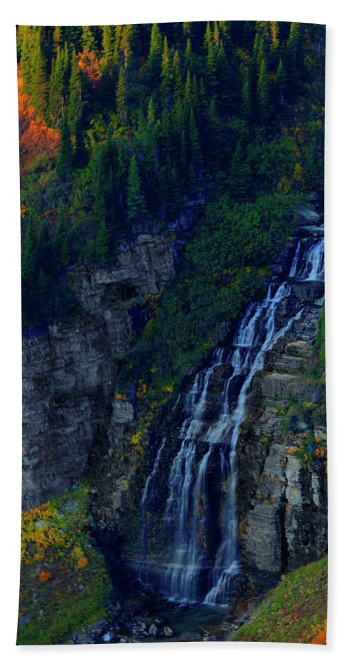 Glacier Beach Towel featuring the photograph Glacier Waterfall by Roy Nierdieck