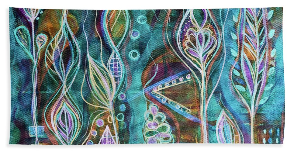 Intuitive Art Beach Towel featuring the painting Glow by Angel Fritz