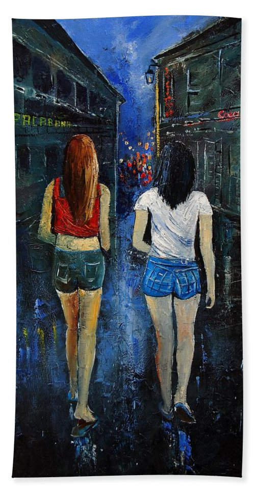 Girl Beach Towel featuring the painting Going Out Tonight by Pol Ledent
