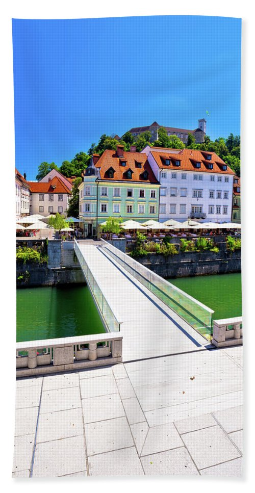 Capital Beach Towel featuring the photograph Green Ljubljana Riverfront Panoramic View by Brch Photography